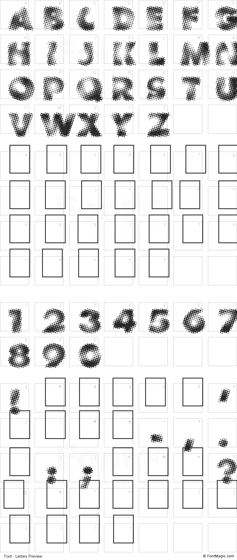 Vanished Font - All Latters Preview Chart