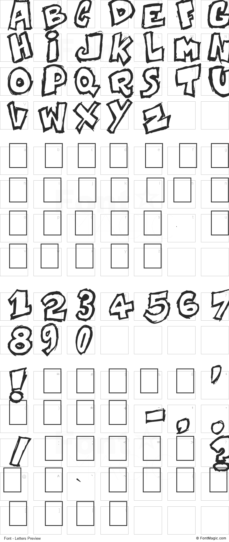 Komikoz Font - All Latters Preview Chart