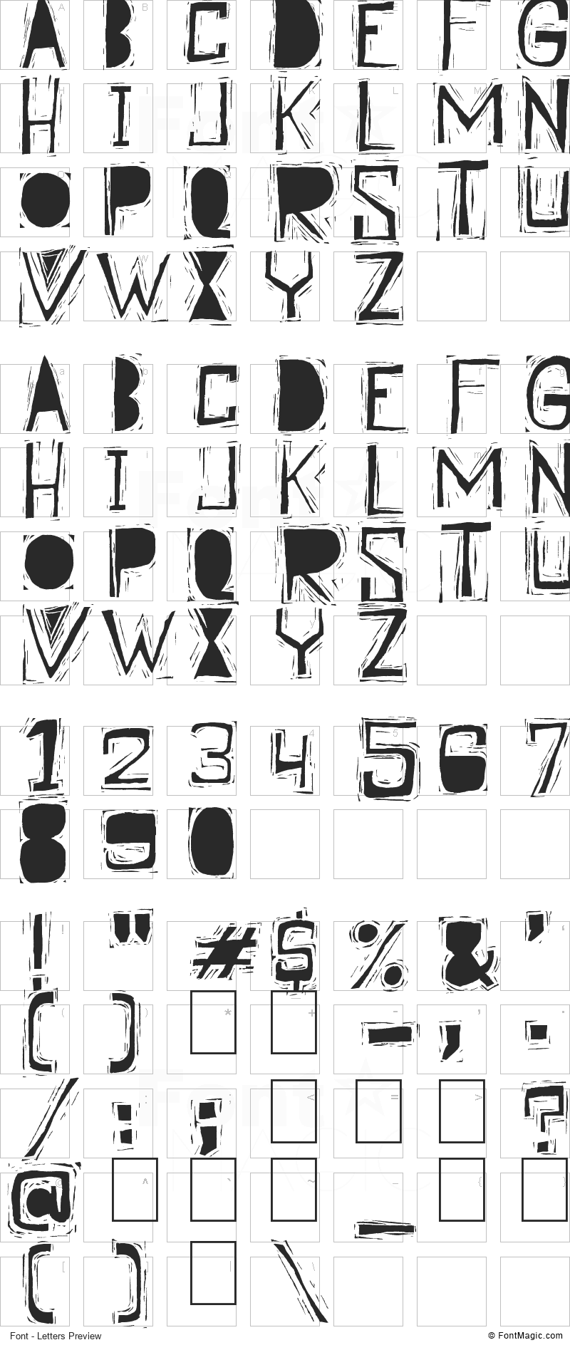 Linographer Font - All Latters Preview Chart