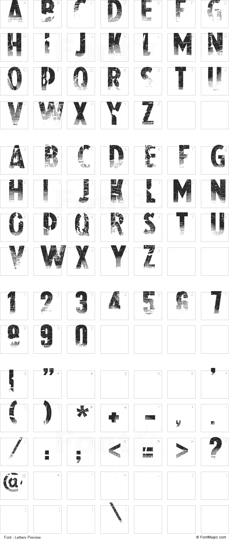 Nowharehouse Font - All Latters Preview Chart