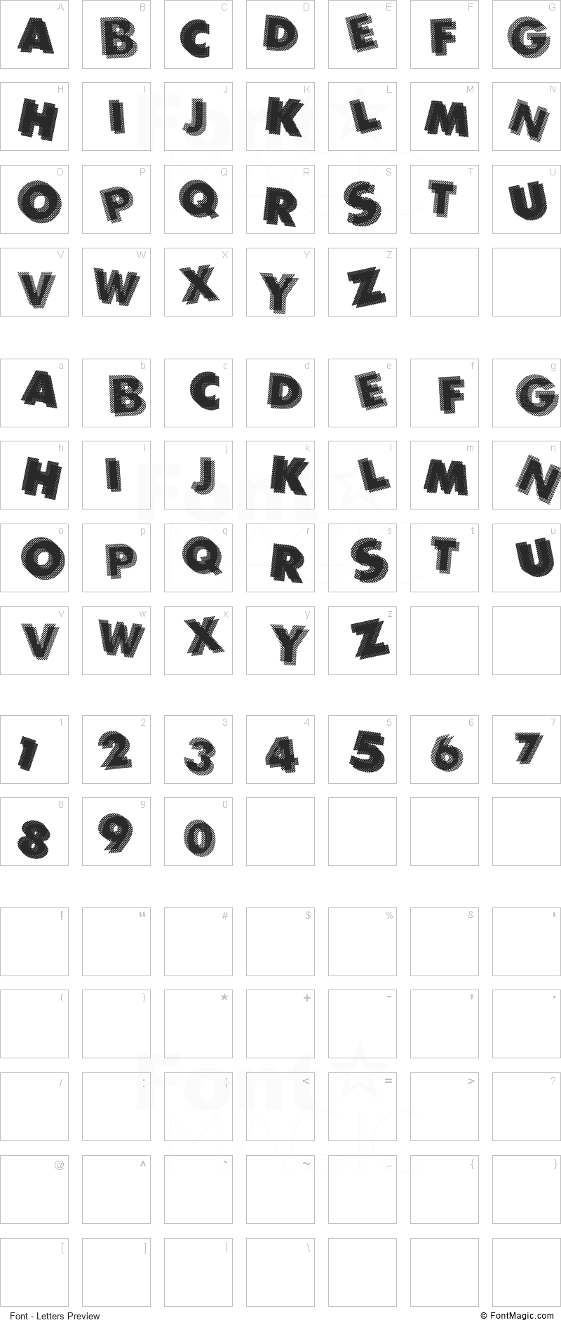 Panic Font - All Latters Preview Chart