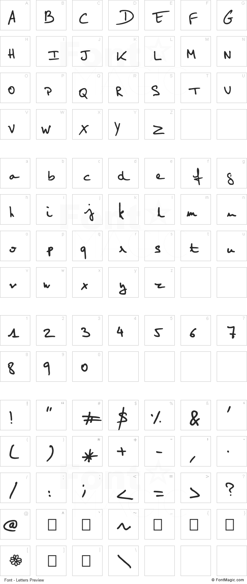 Elo Hand Font - All Latters Preview Chart