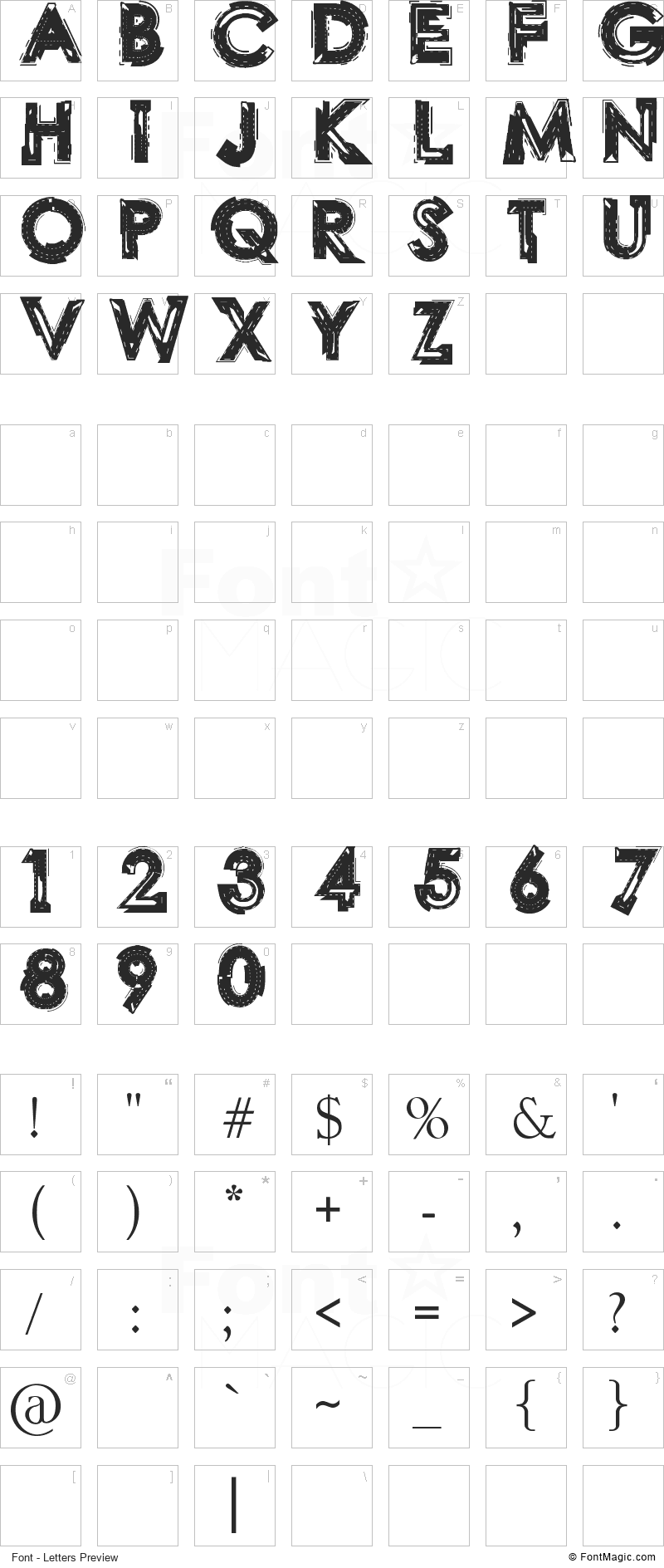 LABO Font - All Latters Preview Chart