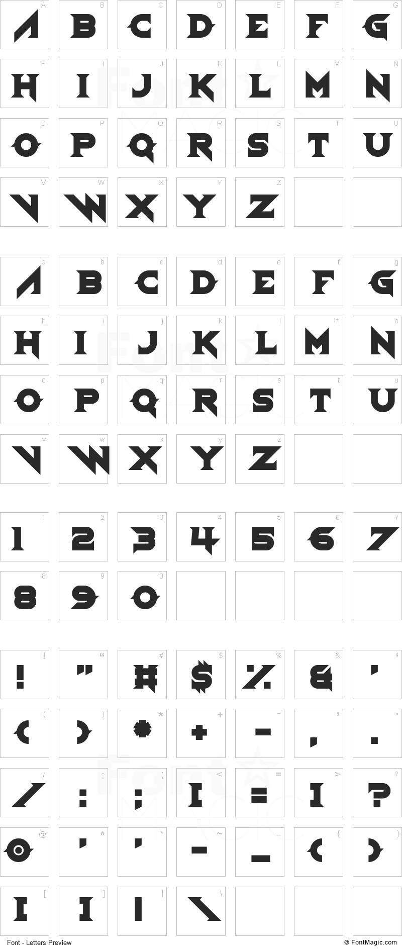 Demoness Font - All Latters Preview Chart