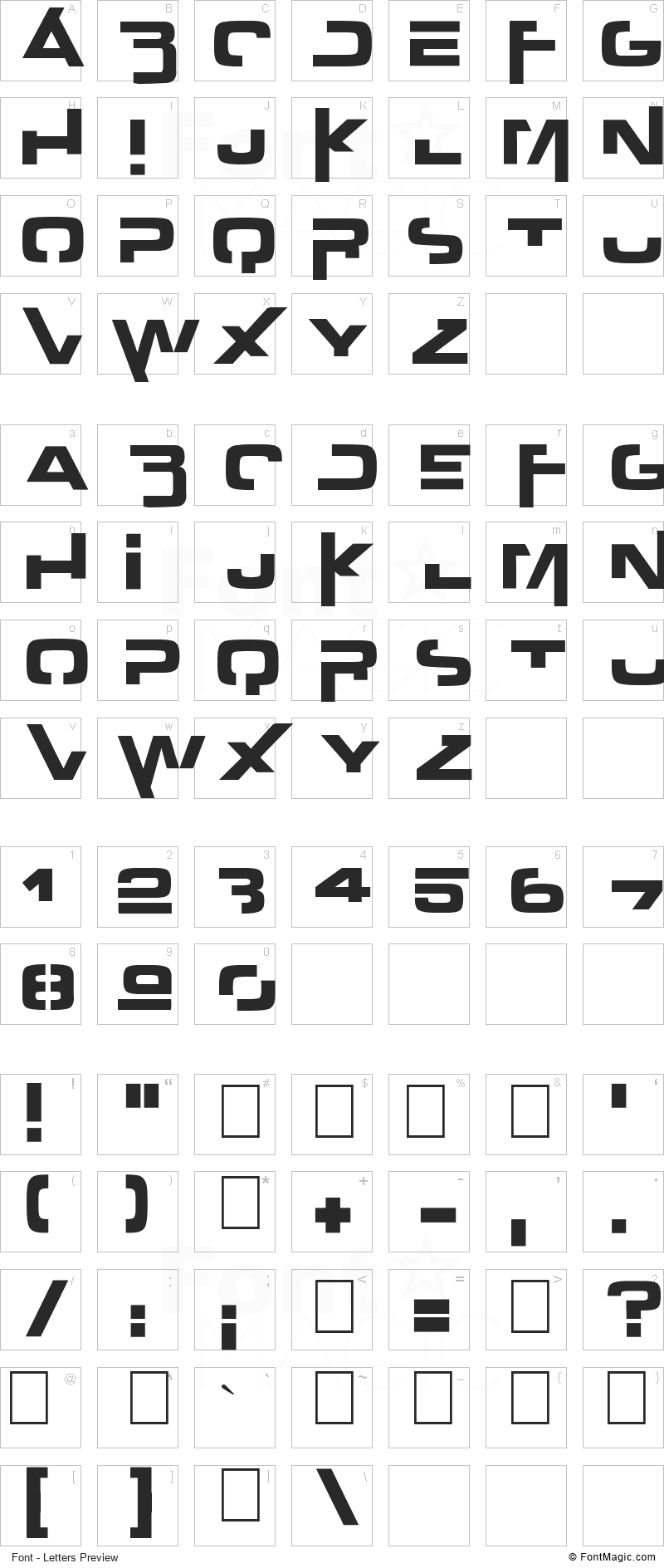 Outer Zone Font - All Latters Preview Chart