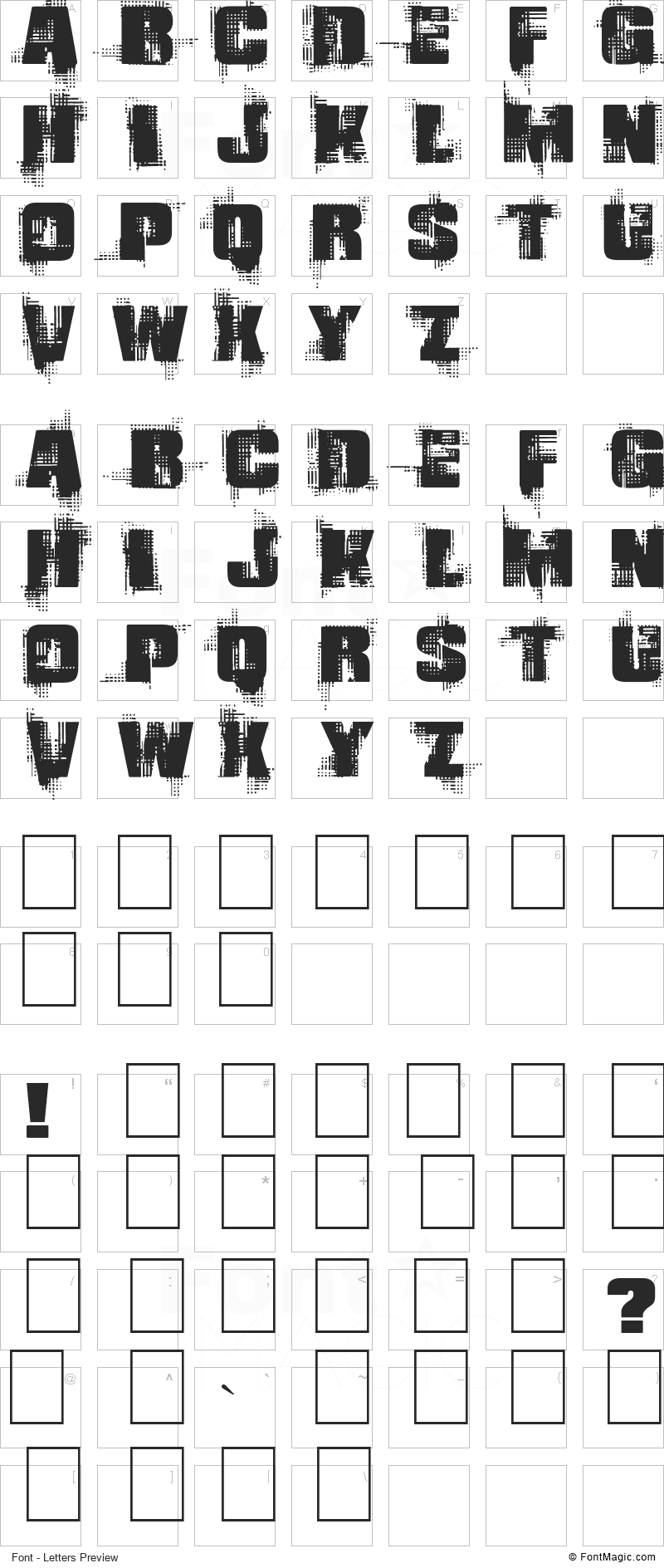 Gling Font - All Latters Preview Chart
