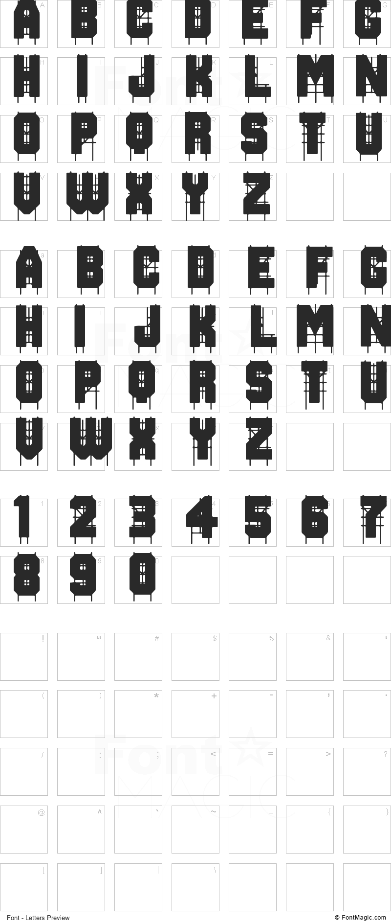 On The Tops Font - All Latters Preview Chart