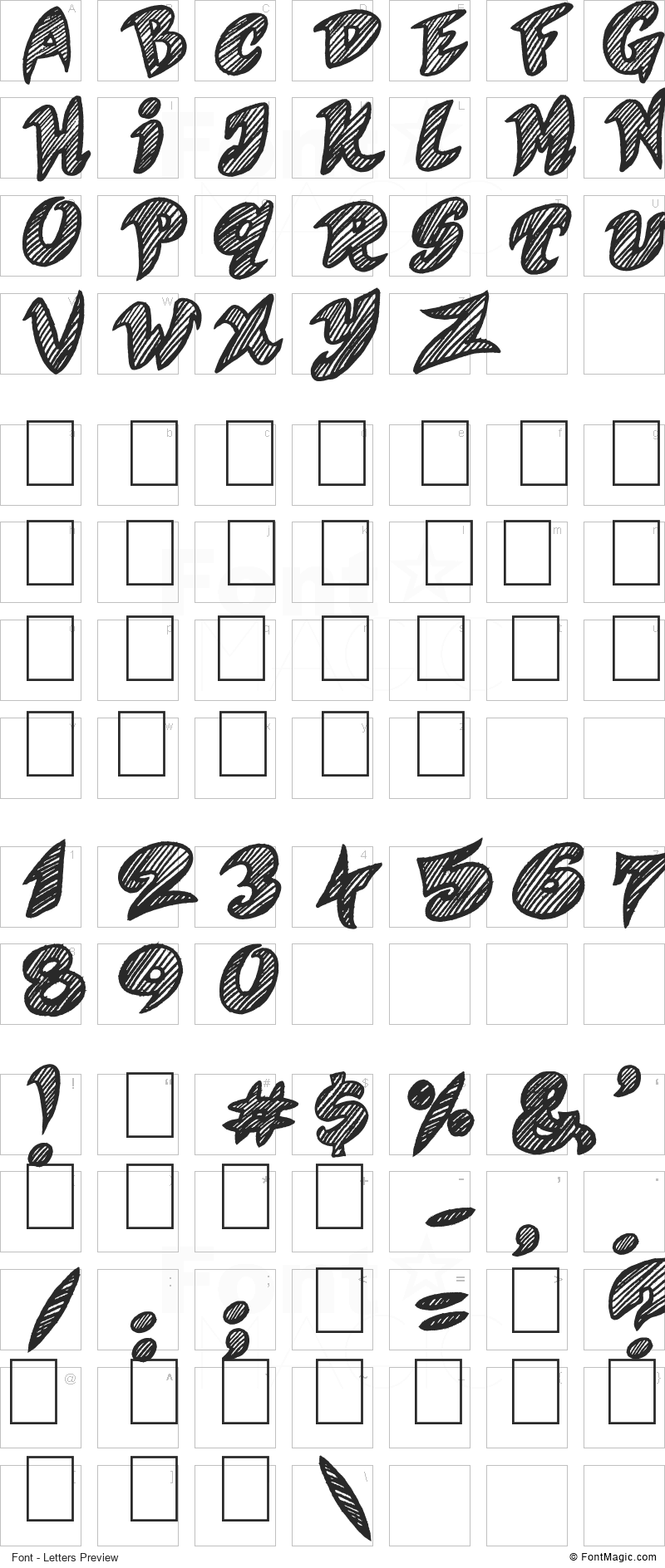 Quicker Font - All Latters Preview Chart