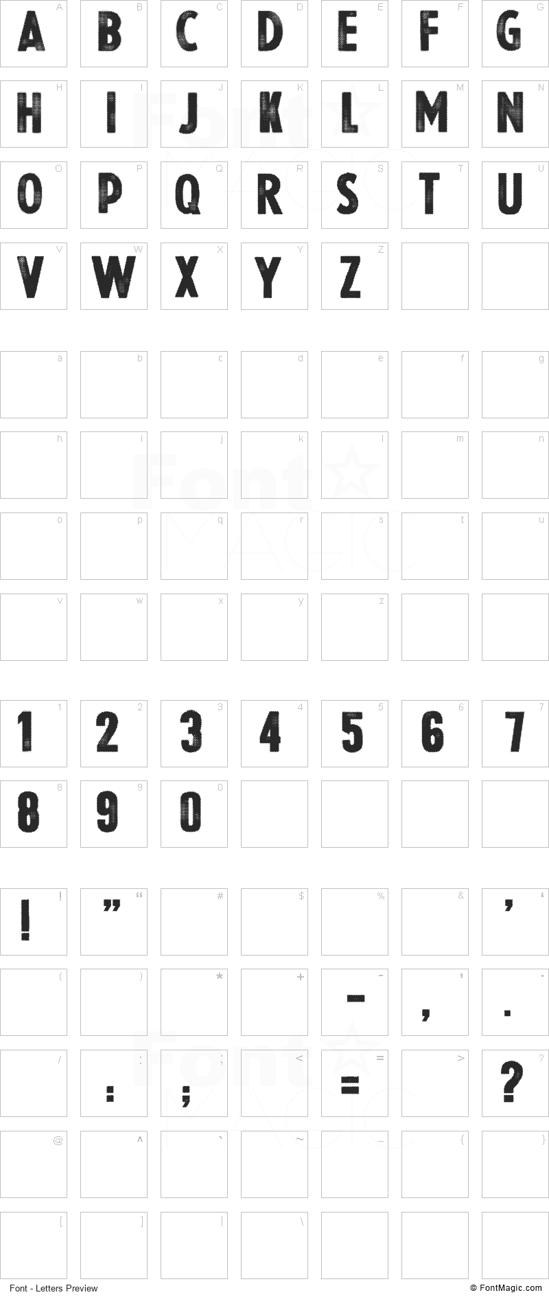 Halftoned Backup Font - All Latters Preview Chart