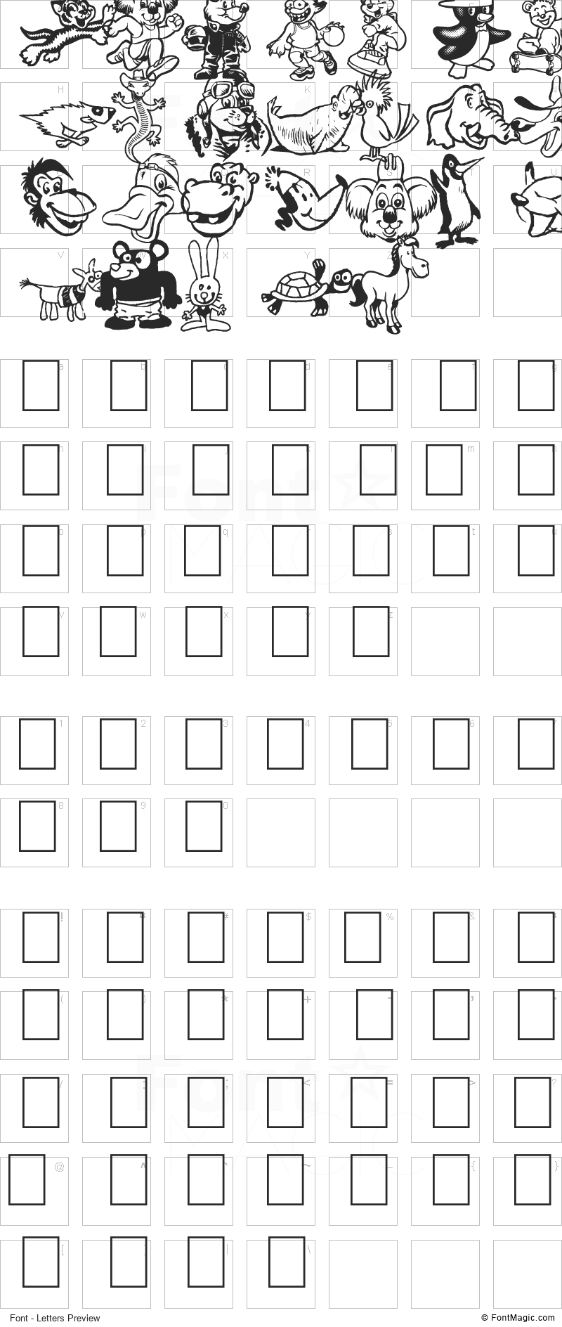 Toonimals 2 Font - All Latters Preview Chart