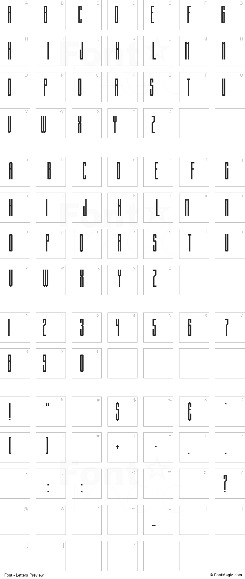 Building State Empire Font - All Latters Preview Chart