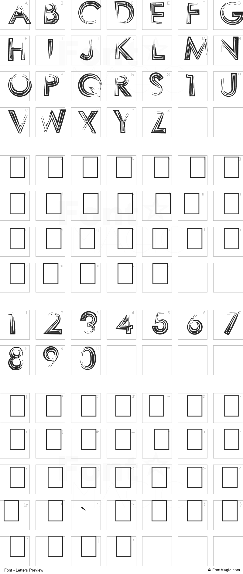 Sharpy Font - All Latters Preview Chart