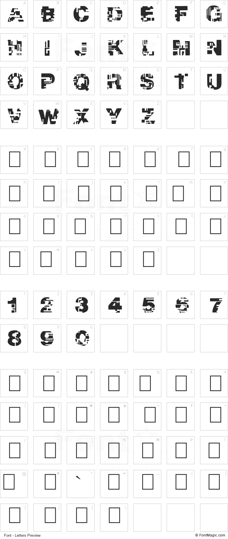 Real Tek Font - All Latters Preview Chart
