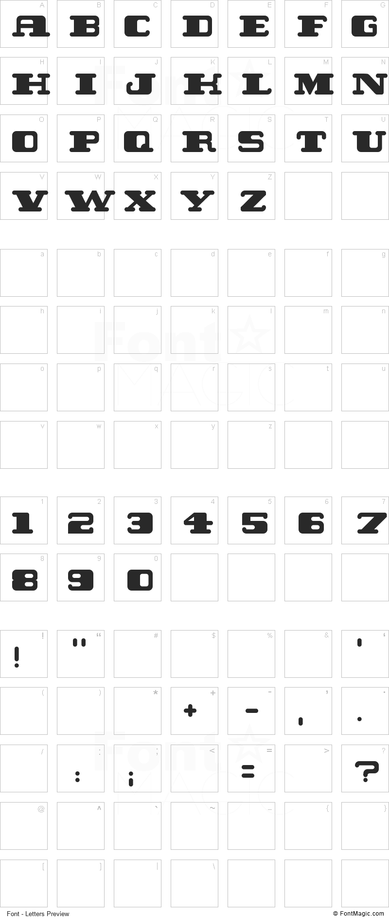 Twent Font - All Latters Preview Chart