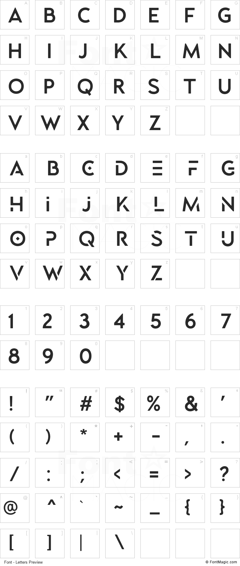 Lequire Font - All Latters Preview Chart