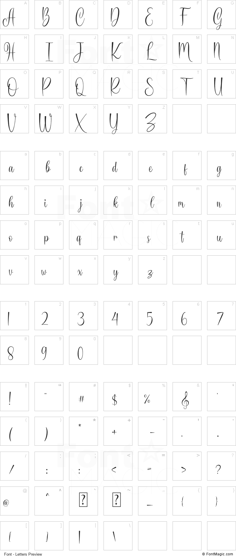 Harmonica Font - All Latters Preview Chart