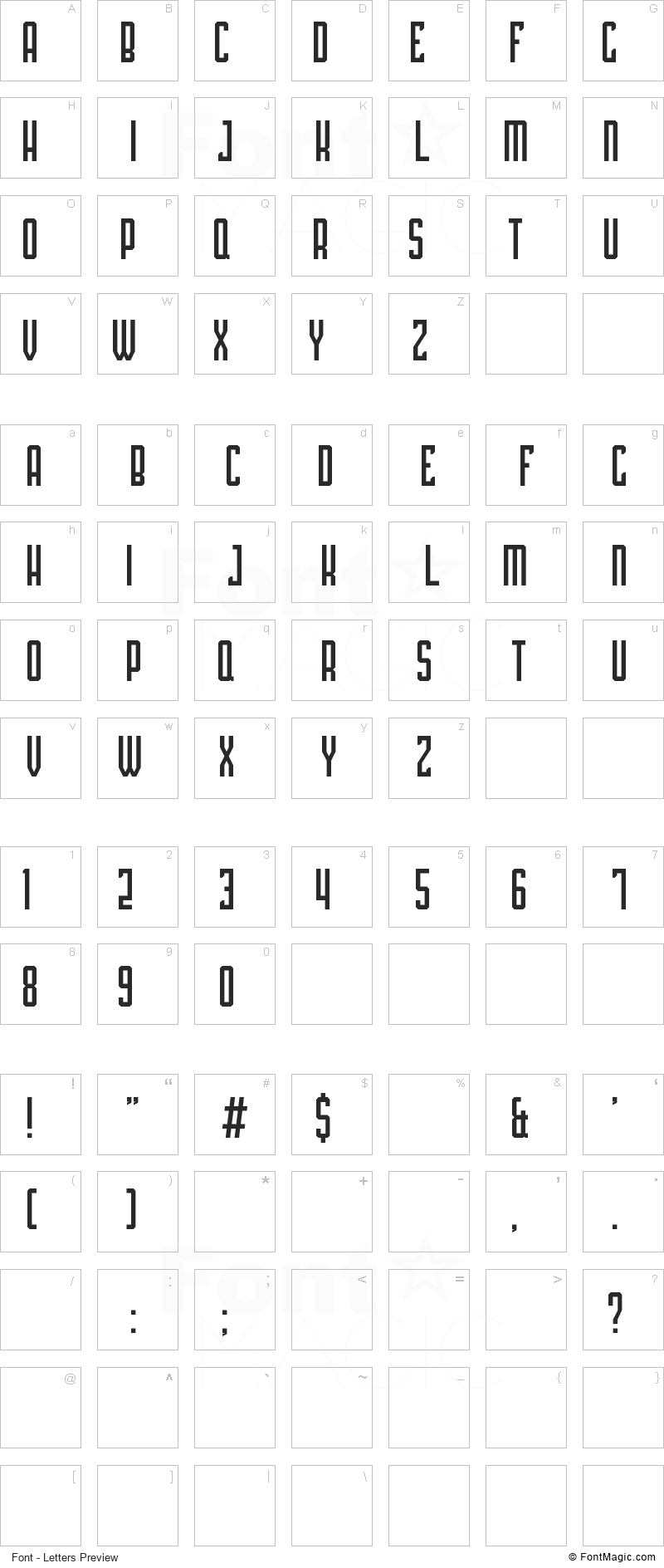 Platina Font - All Latters Preview Chart