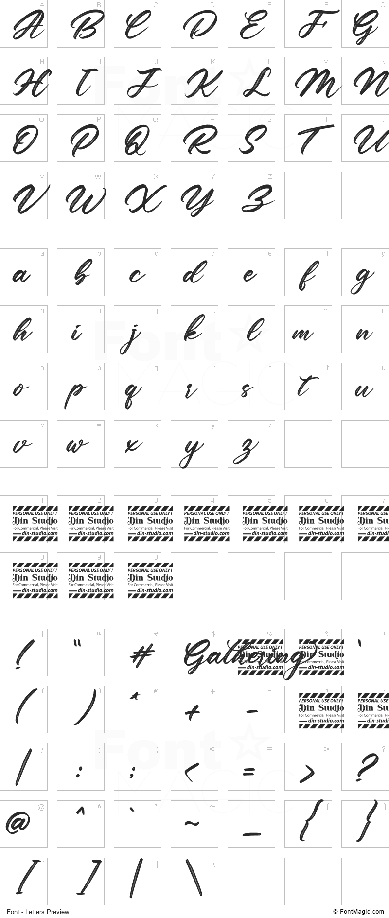 Gathering Font - All Latters Preview Chart