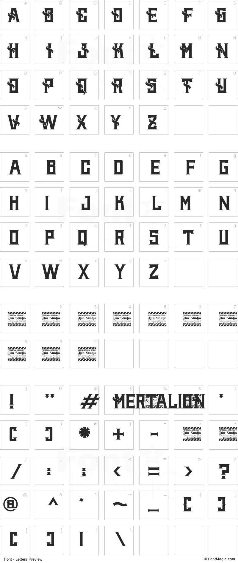 Mertalion Font - All Latters Preview Chart
