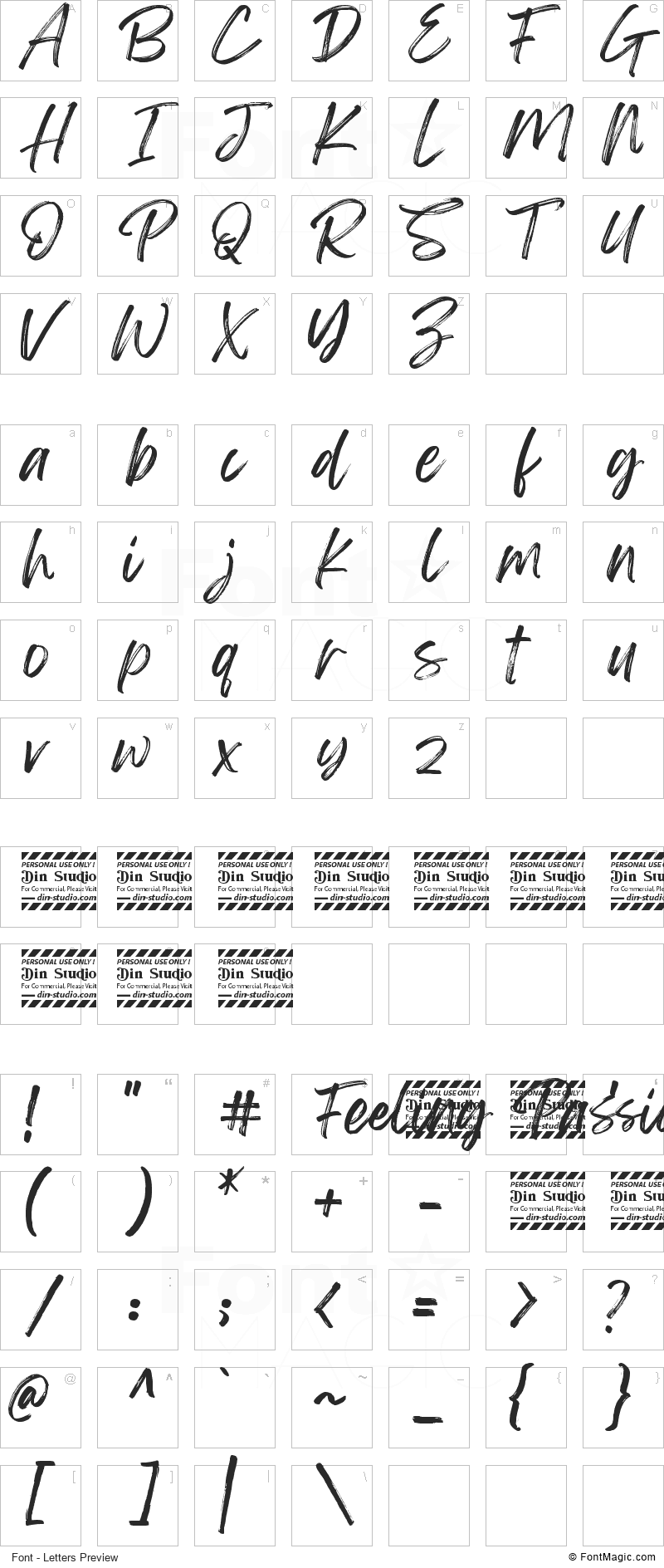 Feeling Passionate Font - All Latters Preview Chart
