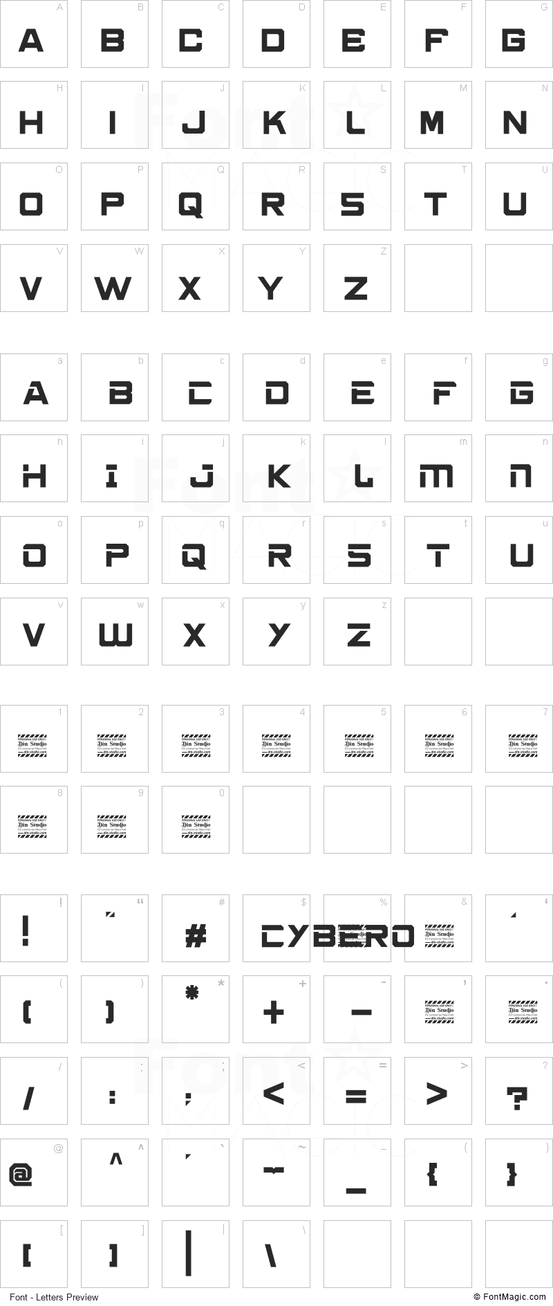 Cybero Font - All Latters Preview Chart
