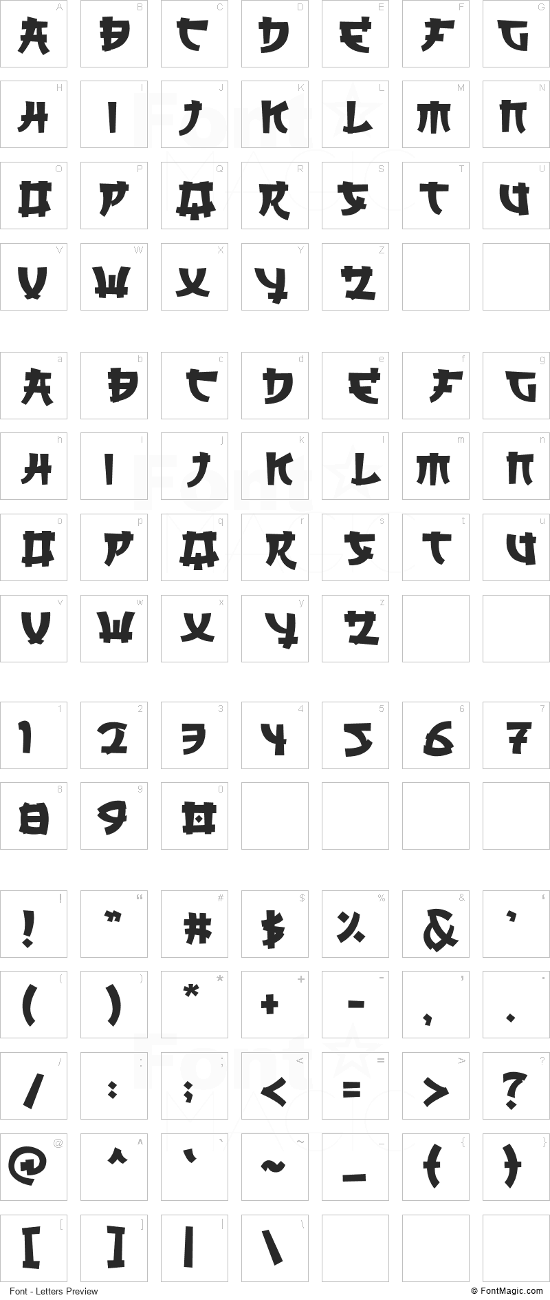 Saikyo Font - All Latters Preview Chart