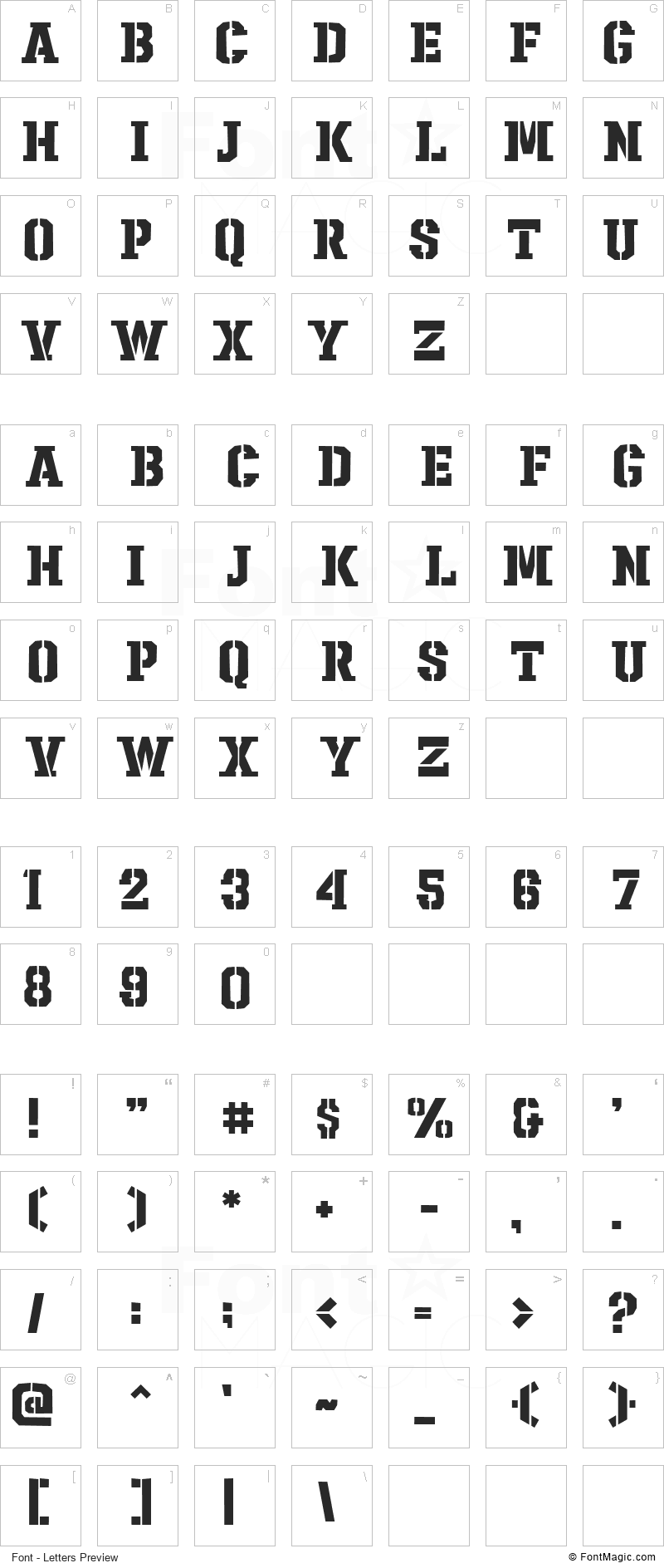 Sharpshooter Font - All Latters Preview Chart