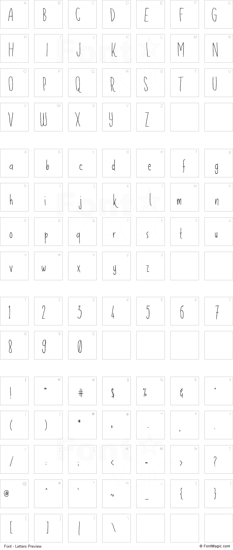 Flowerista Font - All Latters Preview Chart