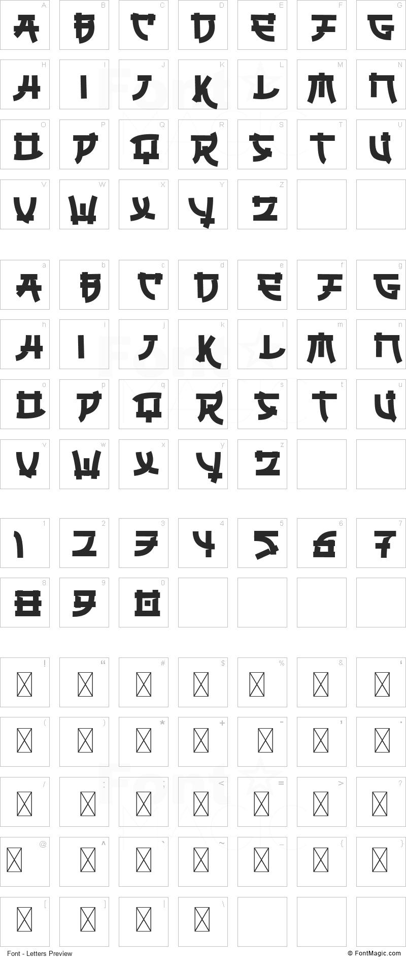 Ungai Font - All Latters Preview Chart