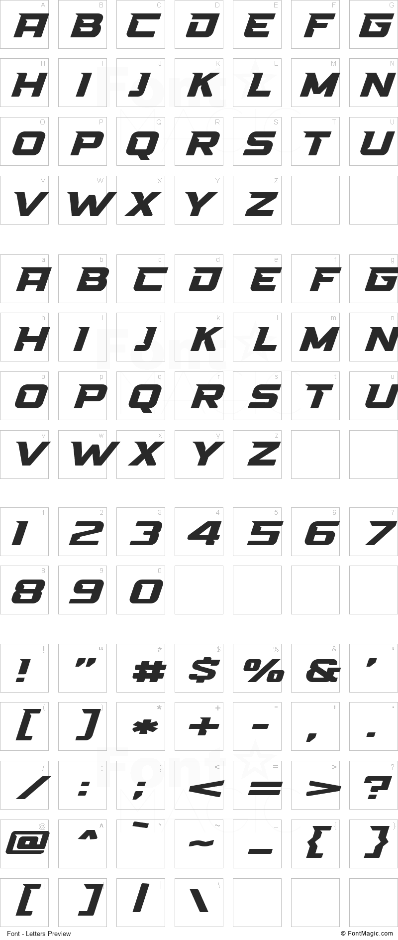 High Speed Font - All Latters Preview Chart