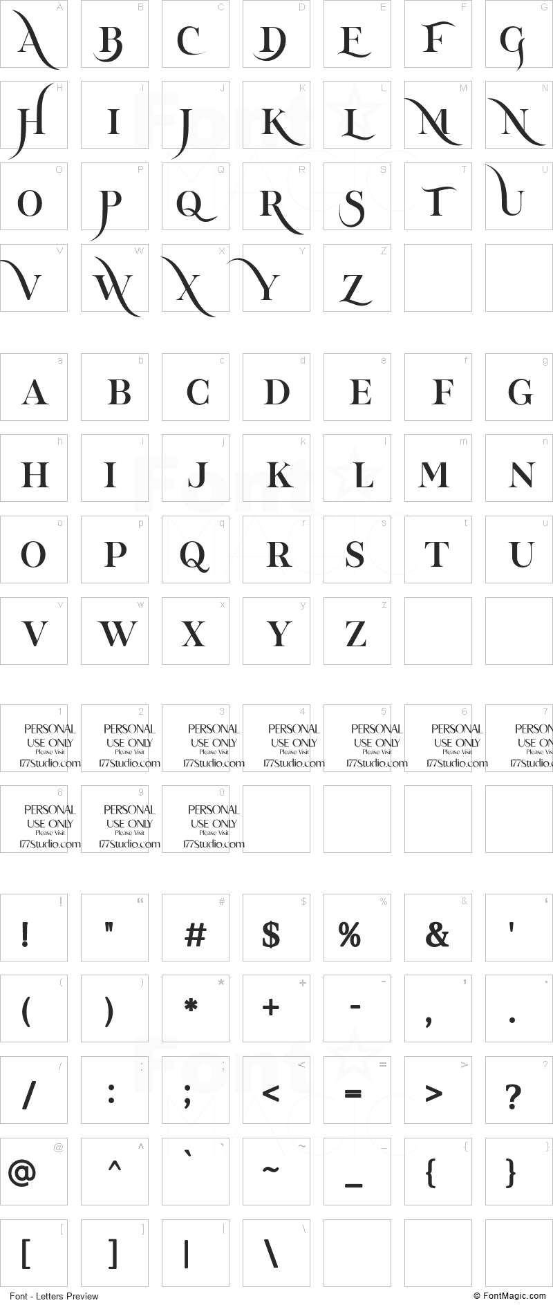 Tornado Font - All Latters Preview Chart