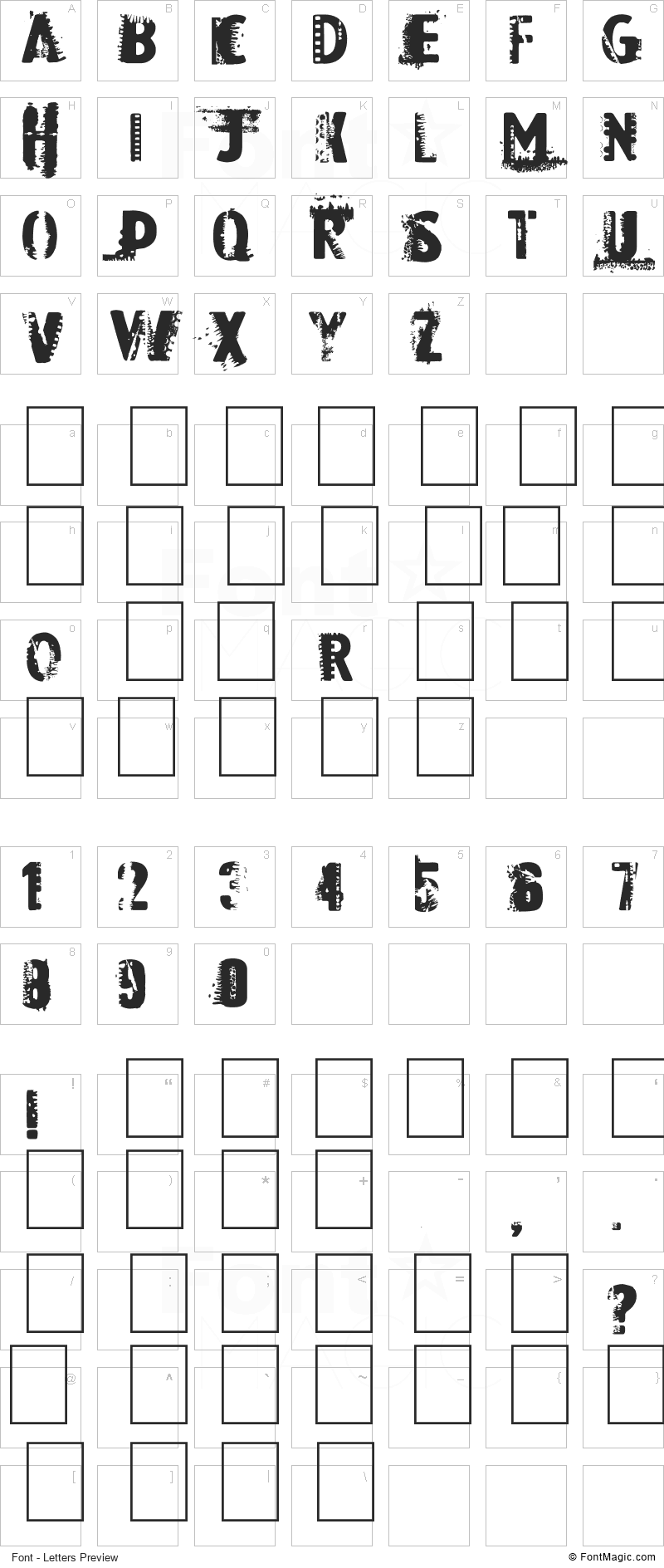 Dark Room Font - All Latters Preview Chart