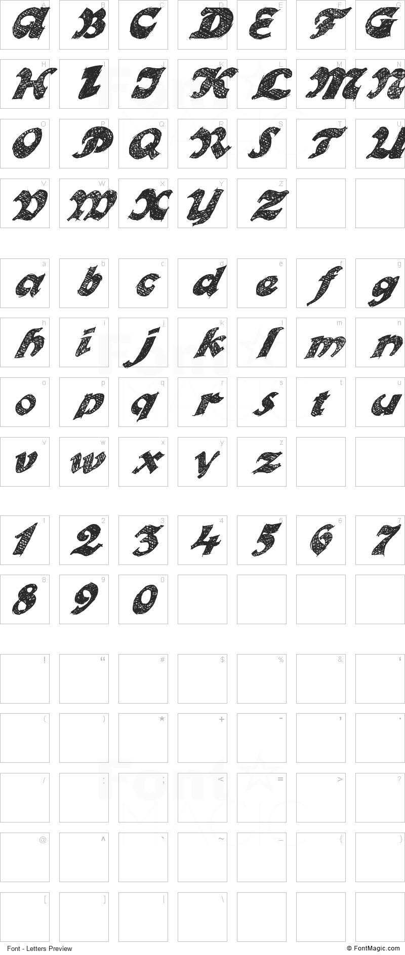 Otto Land Font - All Latters Preview Chart