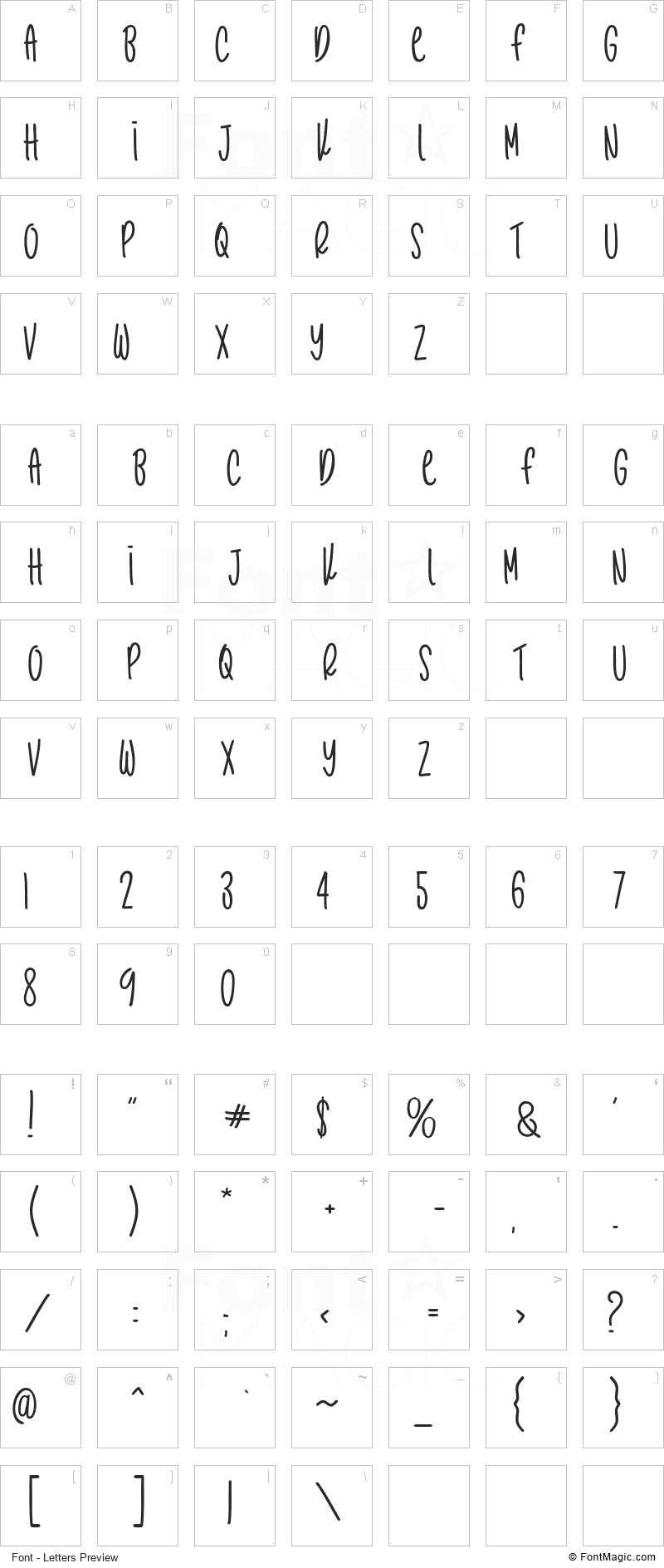 Cactus Story Font - All Latters Preview Chart
