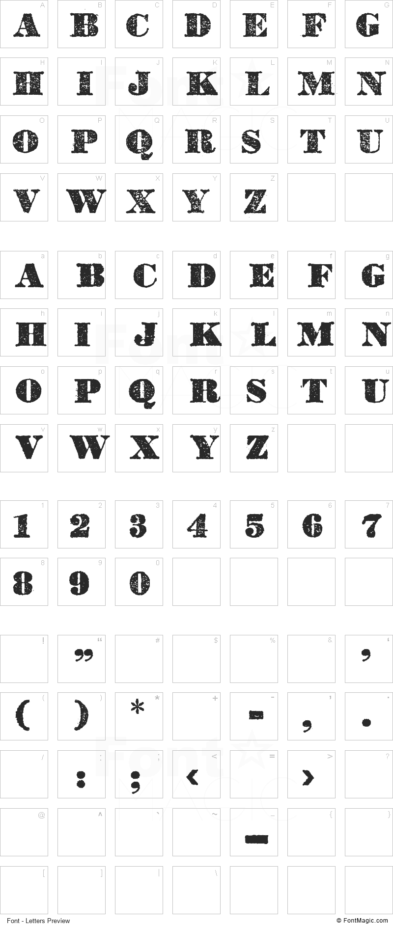 Dickson's Tales Font - All Latters Preview Chart
