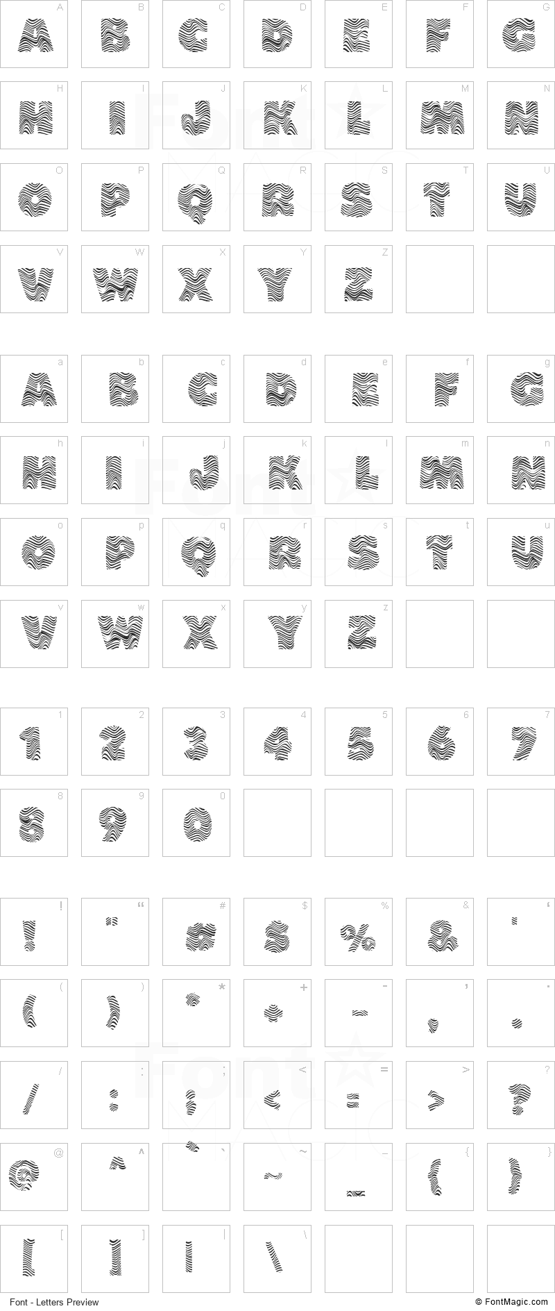 The Wave Font - All Latters Preview Chart
