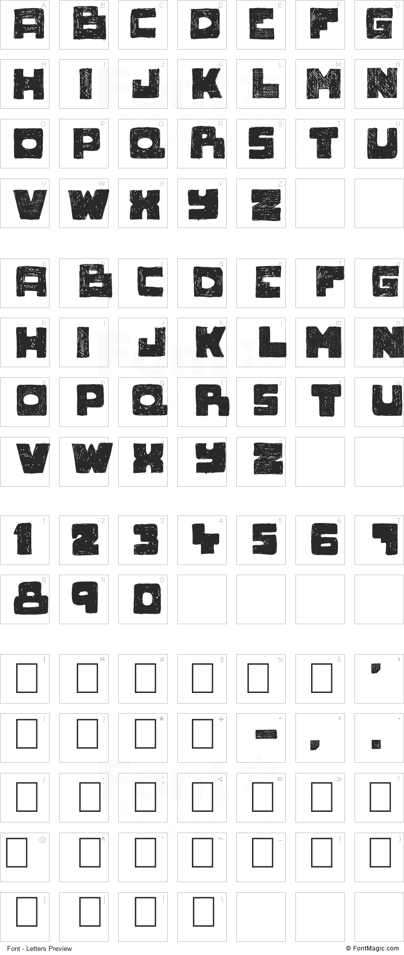 Novlang Font - All Latters Preview Chart