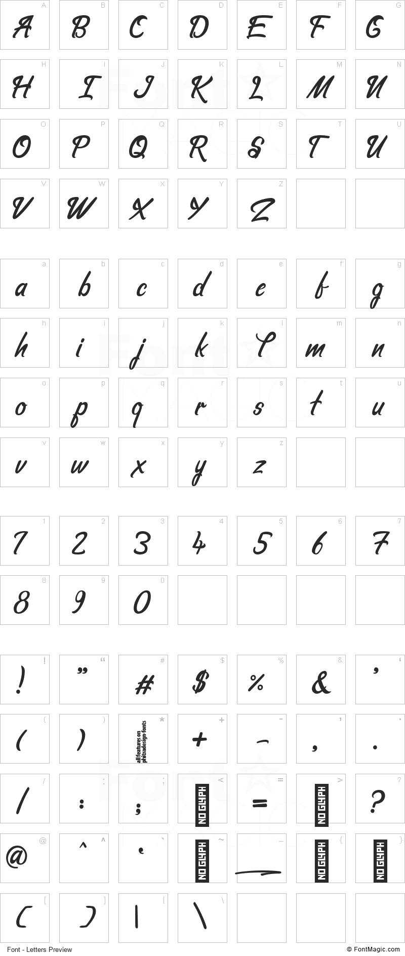 Hello Love Font - All Latters Preview Chart