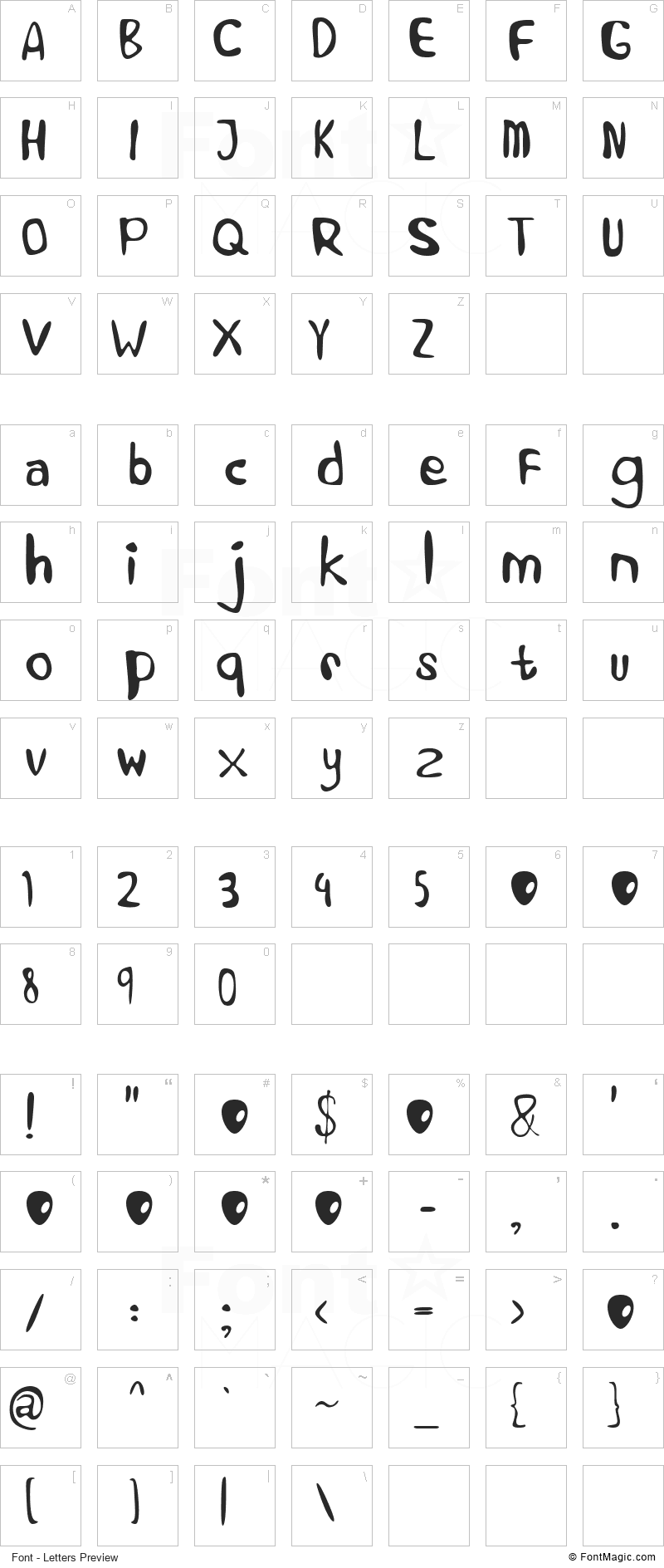 Alien Learns To Write Font - All Latters Preview Chart