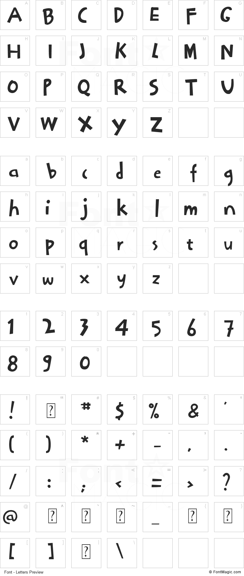 Bocah Font - All Latters Preview Chart