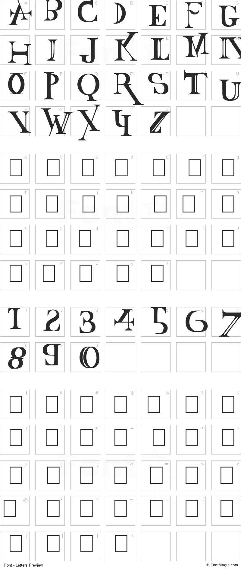 Baskertown Font - All Latters Preview Chart