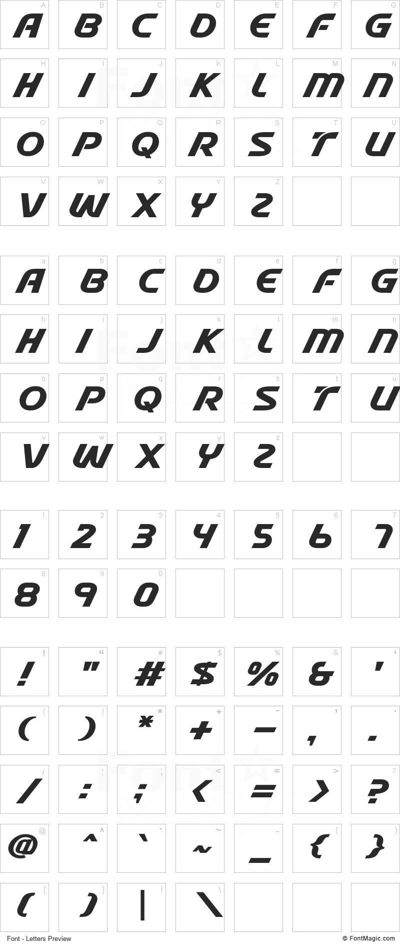 Stable Font - All Latters Preview Chart