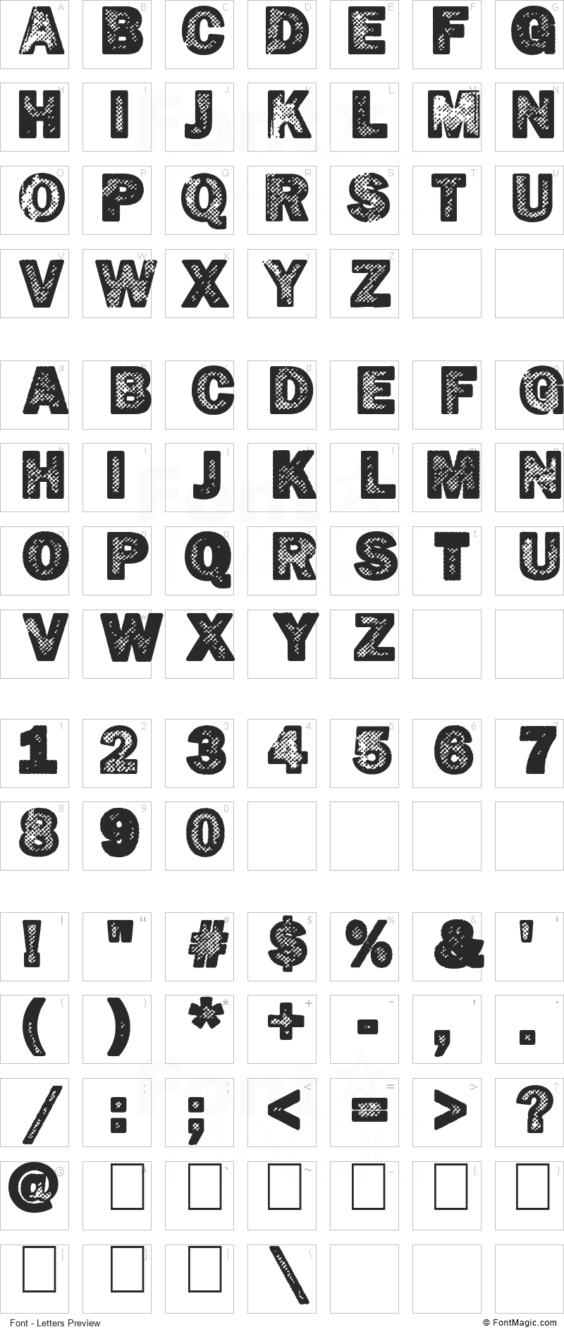 Hotöcop Font - All Latters Preview Chart