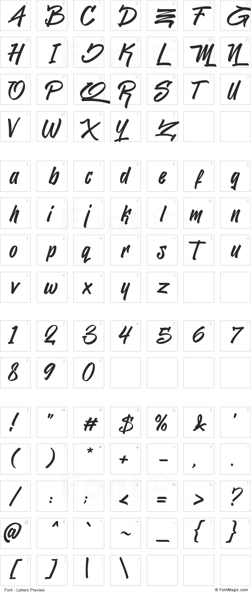 Jacksilver Font - All Latters Preview Chart