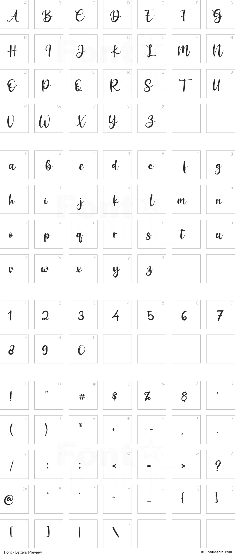Antoinete Font - All Latters Preview Chart