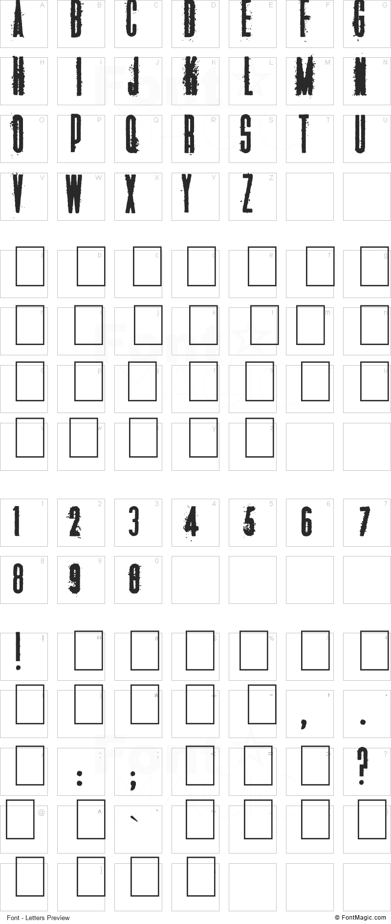 Manifesto Font - All Latters Preview Chart