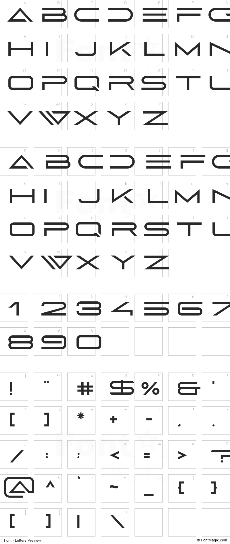 Abnes Font - All Latters Preview Chart