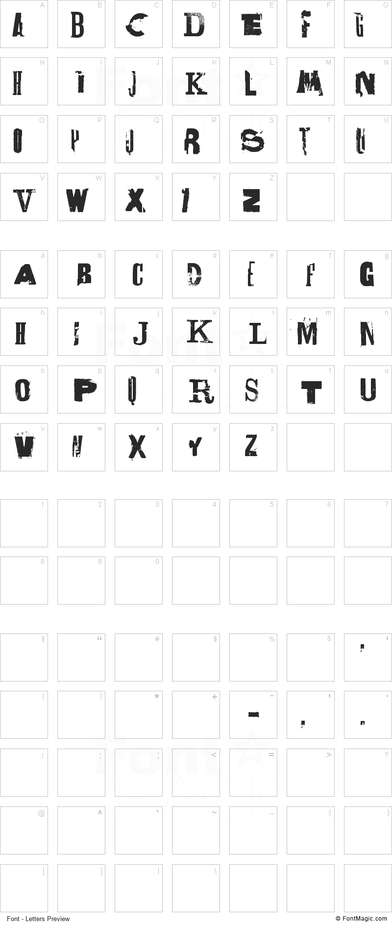 Lettrisme Font - All Latters Preview Chart
