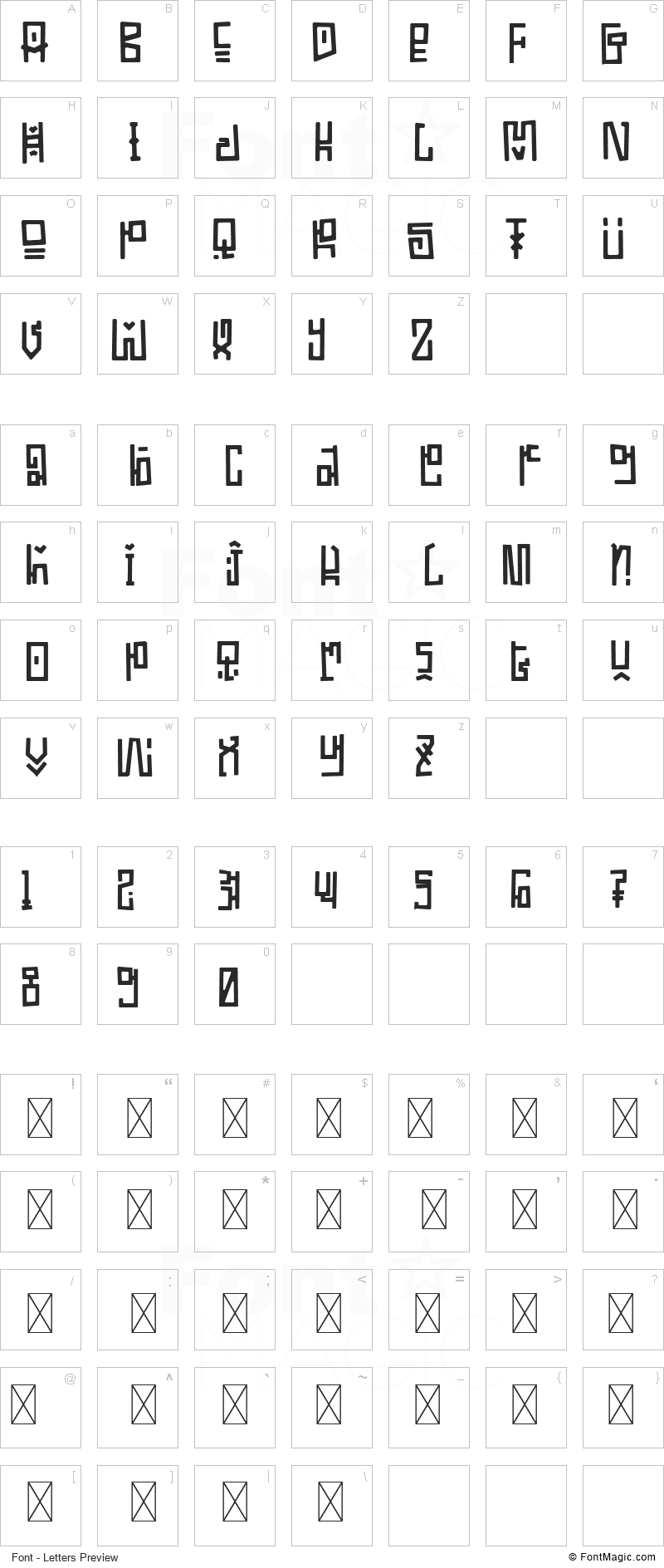 Ethnique Font - All Latters Preview Chart