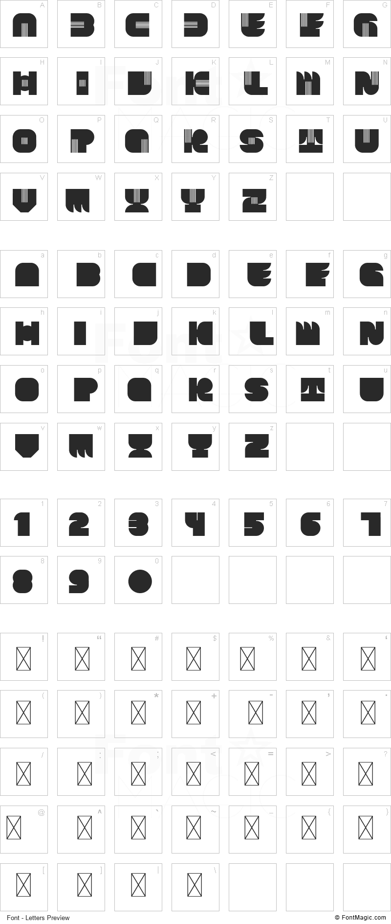Karl Zone Font - All Latters Preview Chart